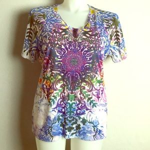 KIARA EMBELLISHED SUBLIMATION TUNIC TOP XXL 2X
